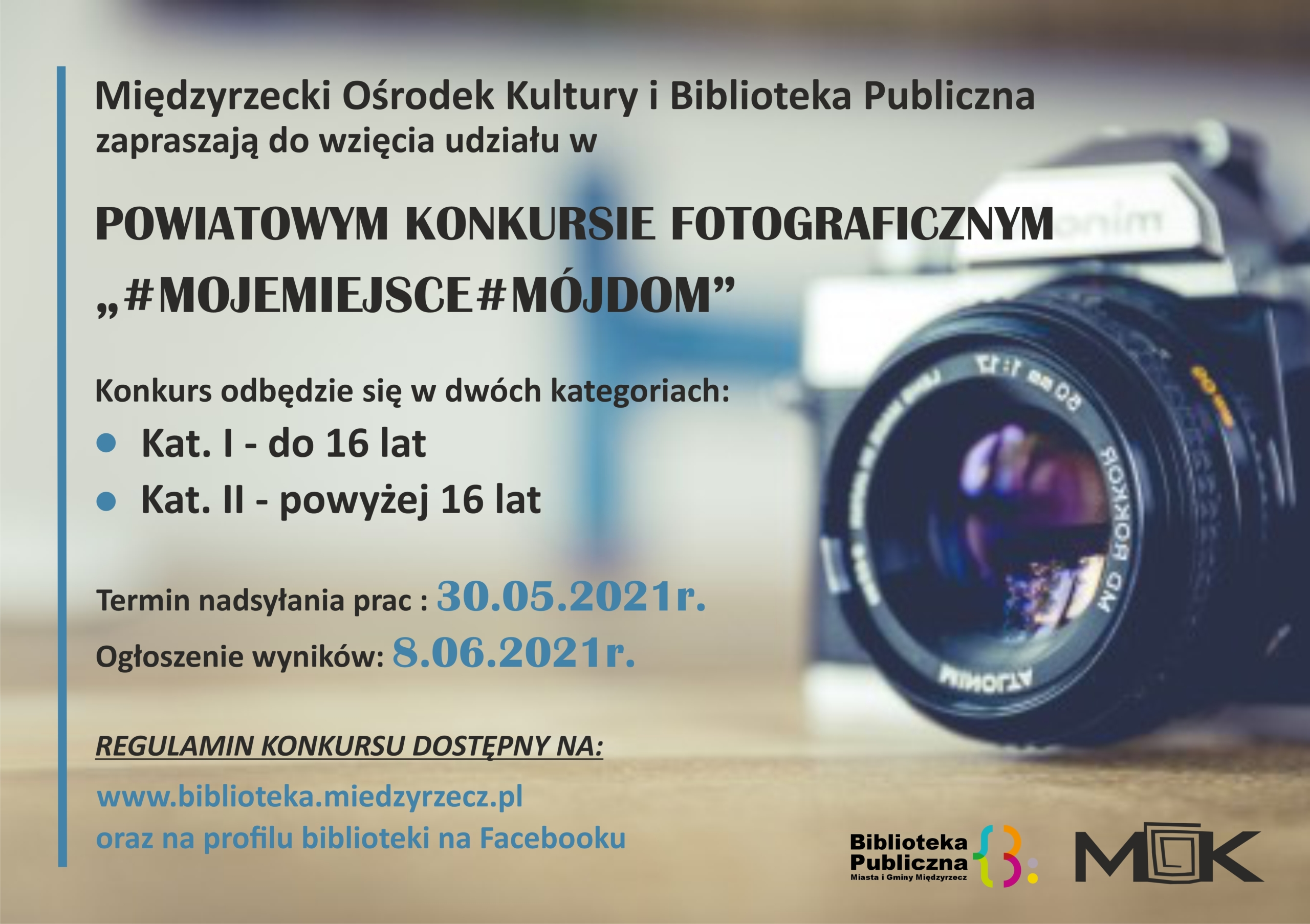 Plakat reklamujący powiatowy konkurs fotograficzny