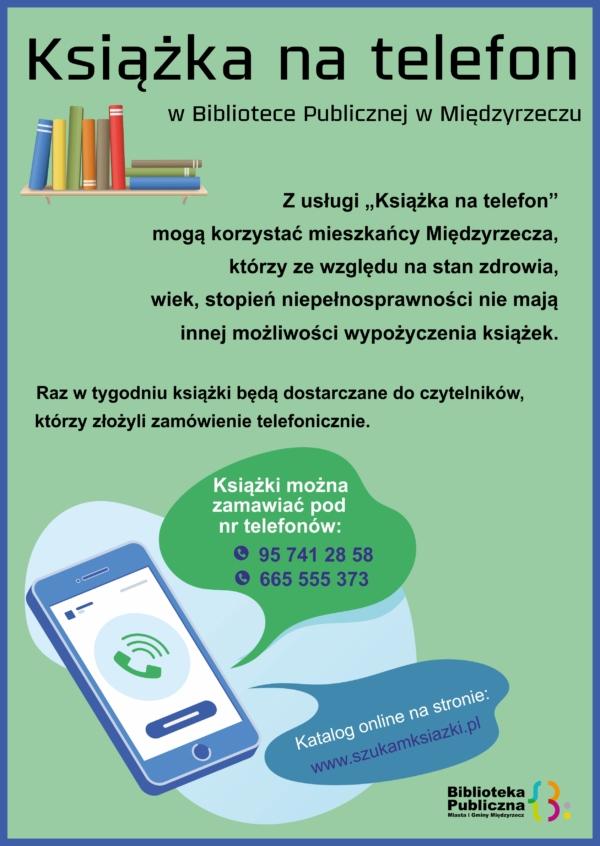 Plakat informujący o usłudze Ksiązka na telefon