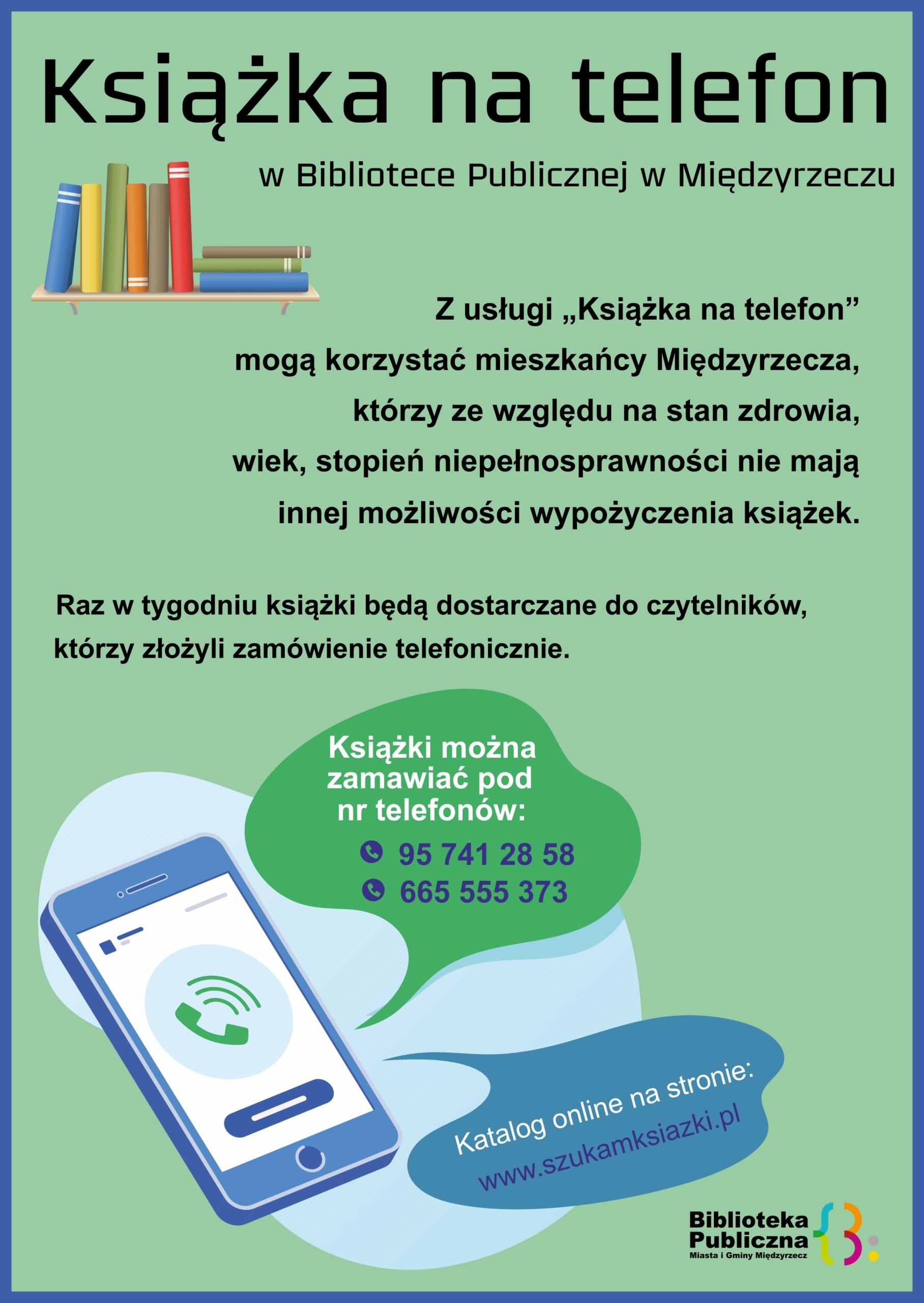 Plakat informujący obezpłatnej usłudze Książka na telefon