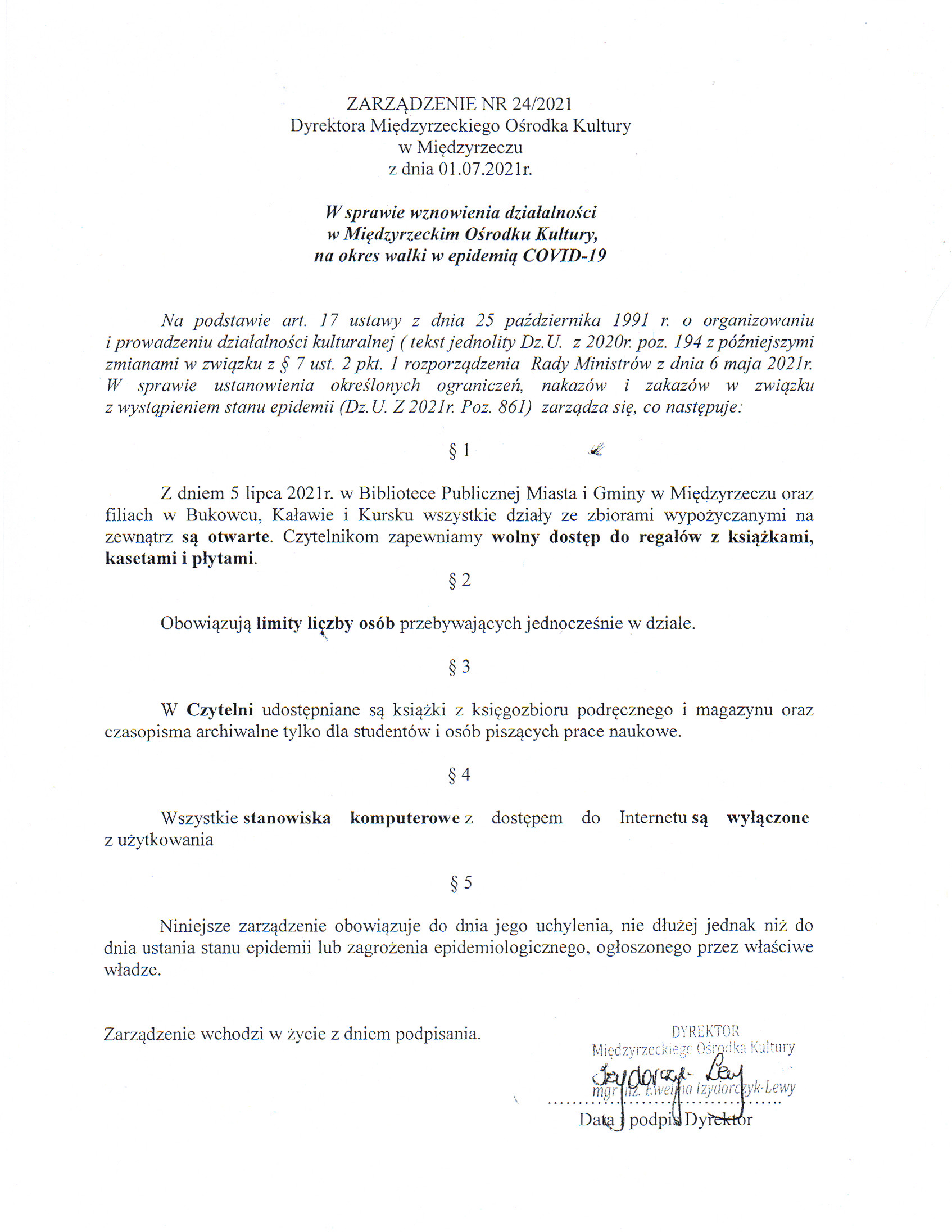 zarządzenie dotyczące zmiany zasad korzystania z biblioteki
