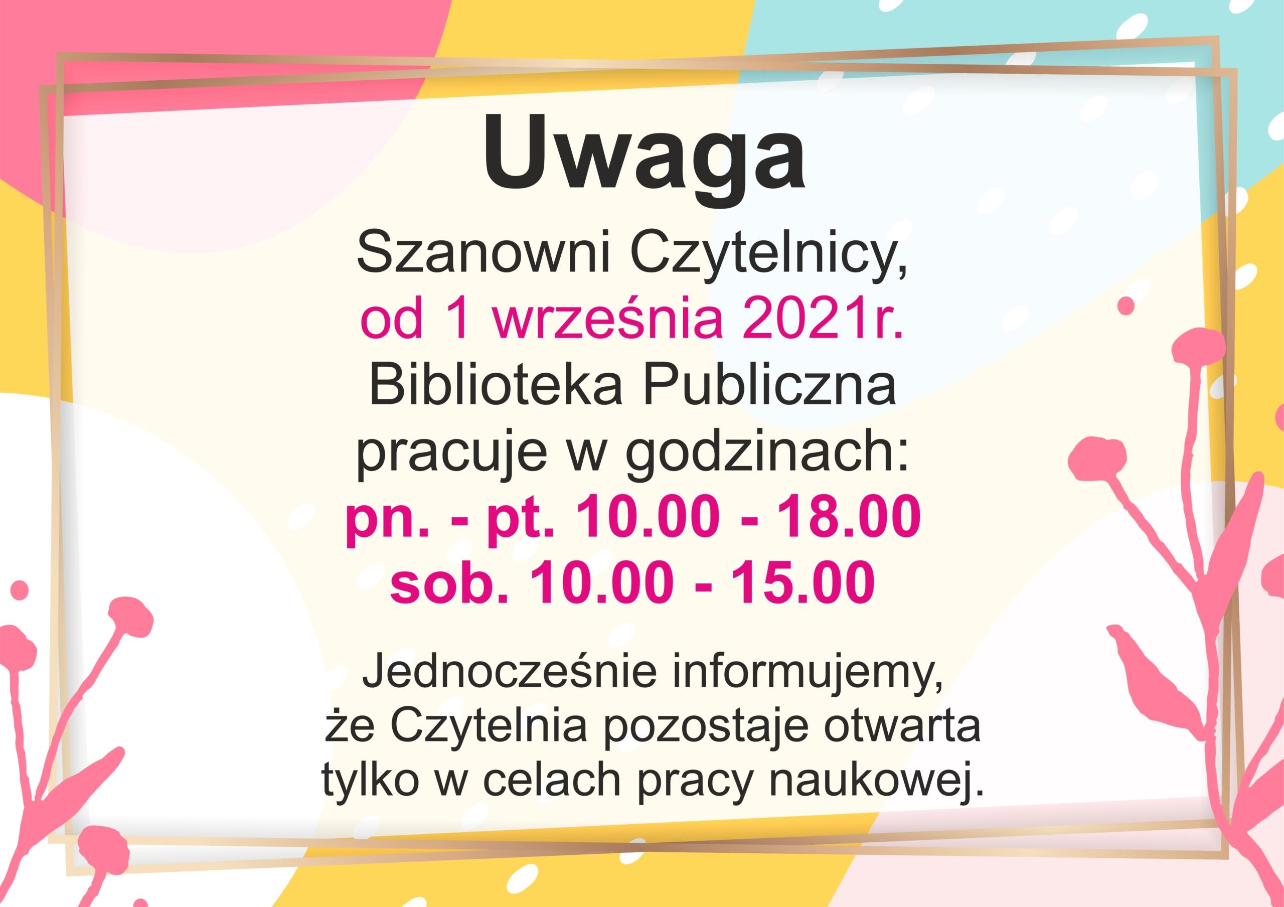 Informacja o zmianie godzin